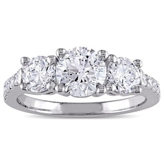 Miadora Signature Collection Platinum 2ct TDW 3-Stone Engagement Ring (G-H, SI1-SI2)