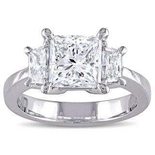 Miadora Signature Collection Platinum 2 1/2ct TDW Certified Princess-Cut Diamond 3-Stone Engagement Ring (E, SI2) (IGI)