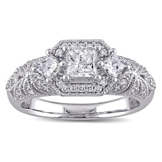 Miadora Signature Collection 14k White Gold 1ct TDW Princess and Round Diamond Engagement Ring