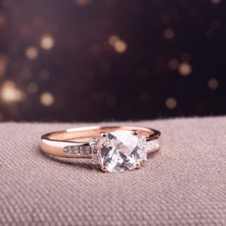 Miadora 10k Rose Gold Created White Sapphire and Diamond Accent Engagement Ring (G-H, I2-I3)