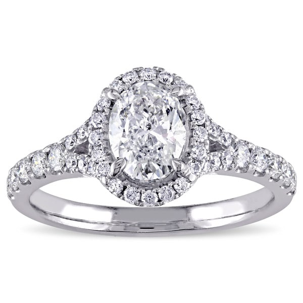 Miadora Signature Collection 14k White Gold 1 1/2ct TDW Diamond Oval Halo Engagement Ring