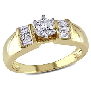 Miadora 10k Yellow Gold 1/2ct TDW Round and Tapered Baguette Diamond Engagement Ring