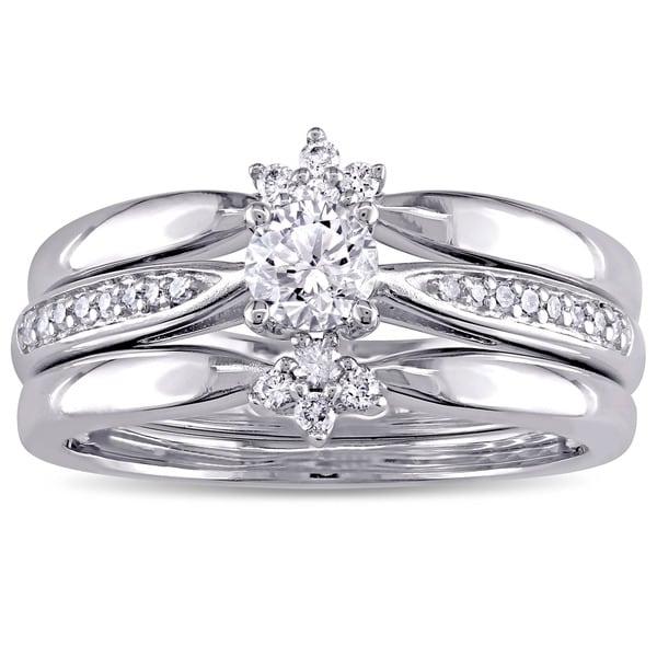 Miadora Signature Collection 14k White Gold 1/2ct TDW Diamond 3-Piece Bridal Ring Set