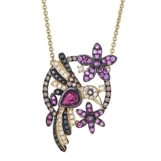 Anika and August 18k Yellow Gold Ruby and 3/4ct TDW Diamond Bird Necklace (G-H, I1-I2)