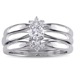 Miadora Signature Collection 14k White Gold 2/5ct TDW Diamond 3-Piece Bridal Ring Set