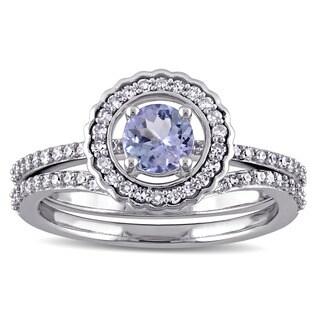 Miadora 14k White Gold Tazanite and 1/3ct TDW Diamond 2-Piece Bridal Ring Set (G-H, I1-I2)