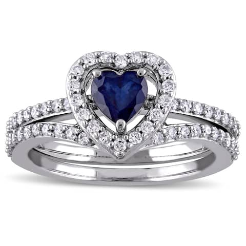 Miadora Signature Collection 10k White Gold Diffused Sapphire and 1/2ct TDW Diamond 2-Piece Bridal R