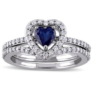 Miadora Signature Collection 10k White Gold Diffused Sapphire and 1/2ct TDW Diamond 2-Piece Bridal R