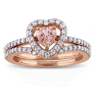 Miadora Signature Collection 10k Rose Gold Morganite and 1/2ct TDW Diamond 2-Piece Bridal Ring Set