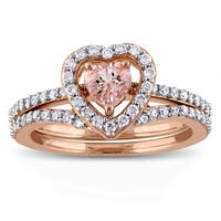 Miadora Signature Collection 10k Rose Gold Morganite and 1/2ct TDW Diamond 2-Piece Bridal Ring Set - Pink