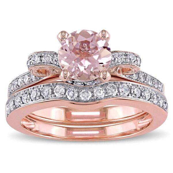 Miadora Signature Collection 14k Rose Gold Morganite and 1/2ct TDW Diamond 2-Piece Bridal Ring Set (