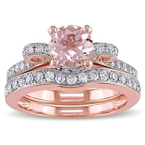 Miadora Signature Collection 14k Rose Gold Morganite and 1/2ct TDW Diamond 2-Piece Bridal Ring Set ( - Pink