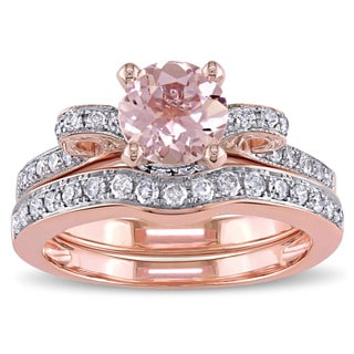 Miadora Signature Collection 14k Rose Gold Morganite And 1 2ct TDW Diamond 2 Piece Bridal Ring Set Pink