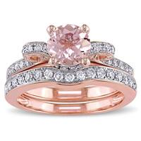 Miadora Signature Collection 14k Rose Gold Morganite and 1/2ct TDW Diamond 2-Piece Bridal Ring Set ( - Pink