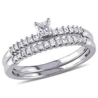 Miadora 14k White Gold 1/2ct TDW Princess Cut Diamond 2-Piece Bridal Ring Set (I-J, I1-I2)