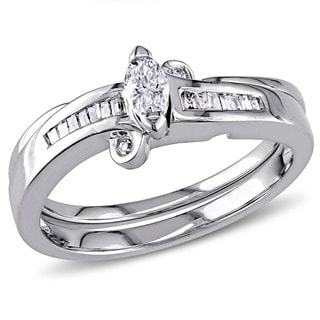 Miadora 14k White Gold 1/4ct TDW Diamond 2-Piece Bridal Set