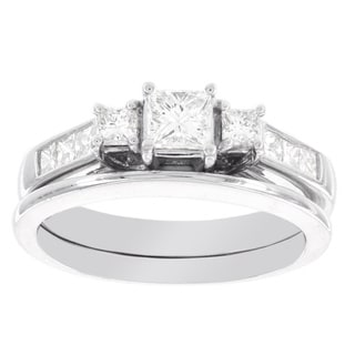 H Star 14k White Gold 1ct Diamond Princess Cut Bridal Set (I-J, I2-I3)
