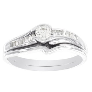 H Star 14k White Gold 1/3ct Diamond Bridal Set (I-J, I2-I3)
