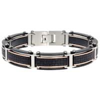 Stainless Steel Men's Textured Link Bracelet