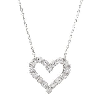 Sterling Silver Cubic Zirconia Open Heart Pendant Necklace