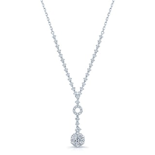14k White Gold 1 1/3ct TDW Diamond Cluster Y-necklace