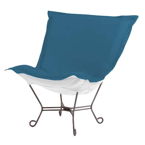Scroll Puff Chair with Cover, Titanium Frame, Seascape Turquoise