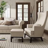 Capella Highback Wing Lounge Chair with Footstool by iNSPIRE Q Artisan