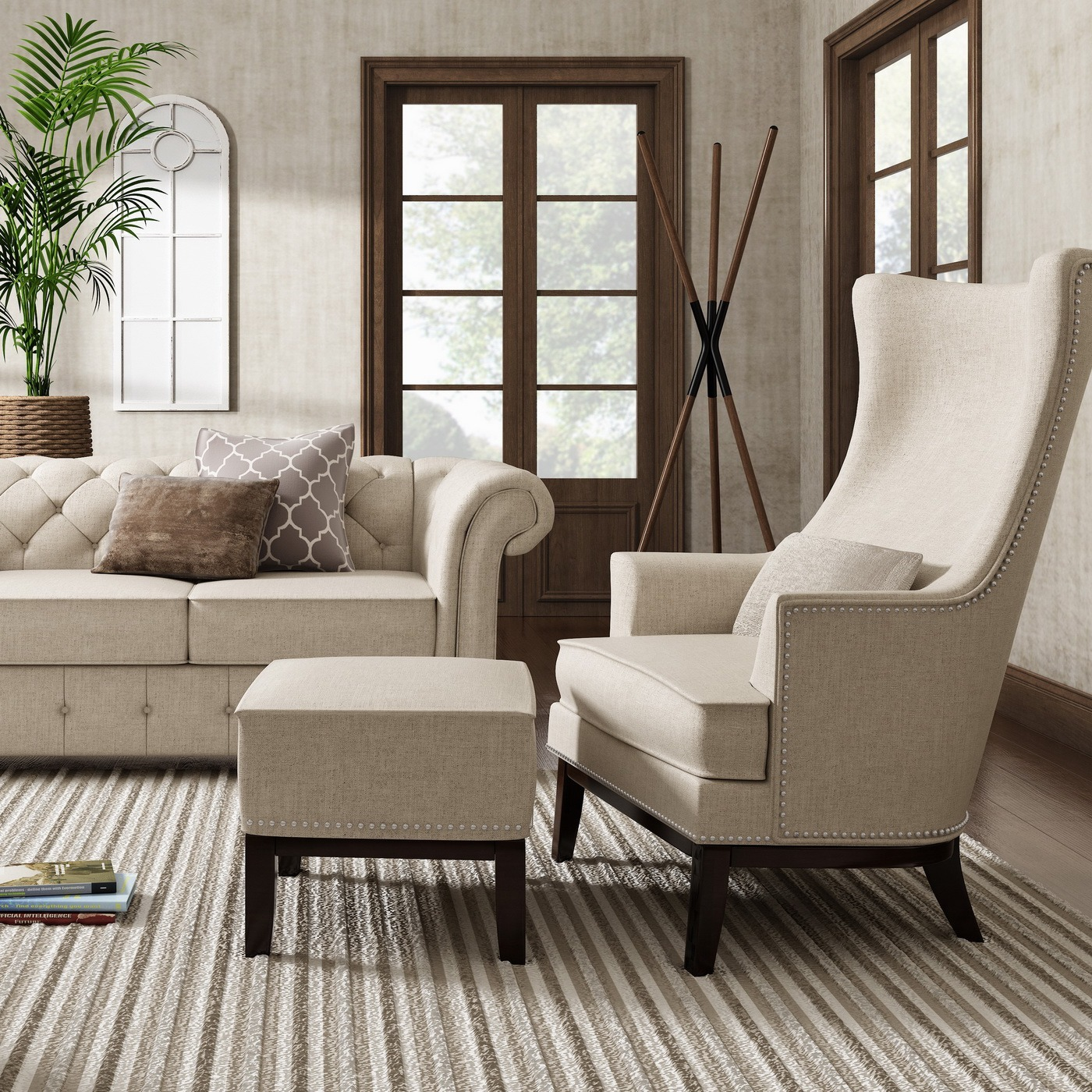 Capella Highback Wing Lounge Chair With Footstool By Inspire Q Artisan Overstock 12244475