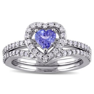 Miadora Signature Collection 10k White Gold Heart-Shape Tanzanite and 1/2 ct TDW Diamond Halo Bridal