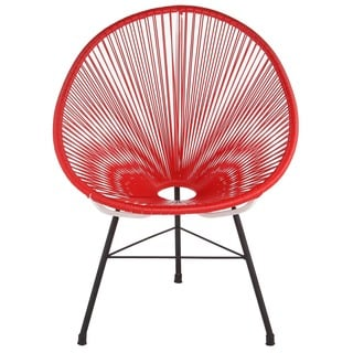 Acapulco Woven Basket Lounge Chair, Red