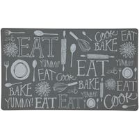 "Mohawk Home Casual Comfort Gray Handlettered Kitchen Mat - 1' 6"" x 2' 6"""