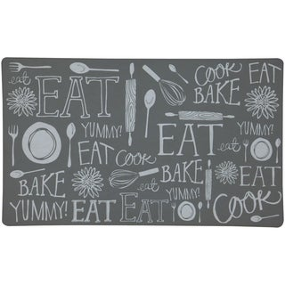 """Mohawk Home Casual Comfort Gray Handlettered Kitchen Mat - 1' 6"""" x 2' 6"""""""