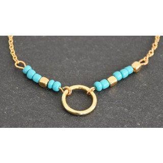 Mint Jules Dainty Turquoise Bead Karma Ring Circle Bracelet