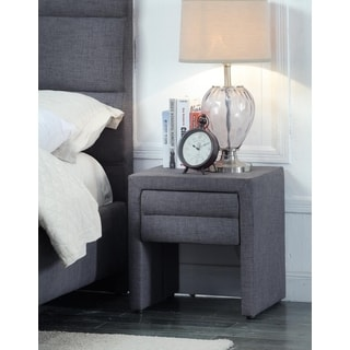 Meridian Cooper Grey Linen Night Stand