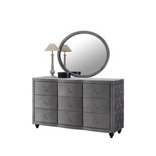 Meridian Hudson Grey Velvet Mirror