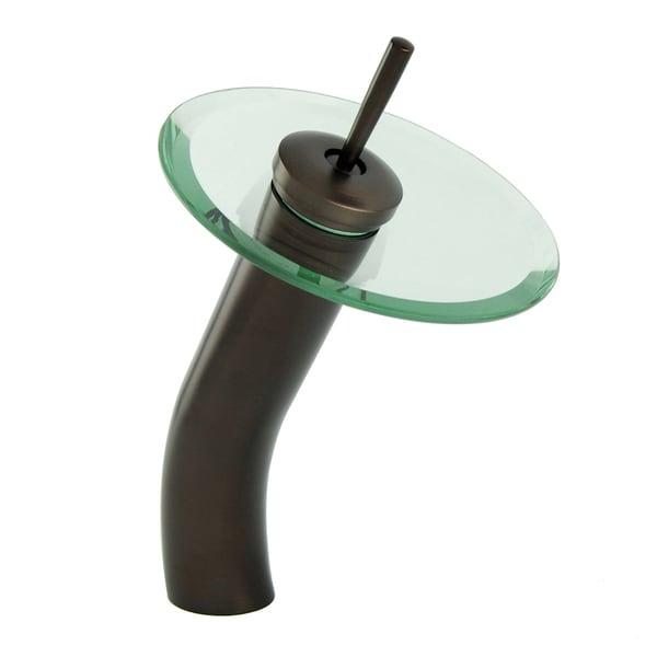 oil rubbed bronze vessel sink filler glass waterfall bathroom faucet