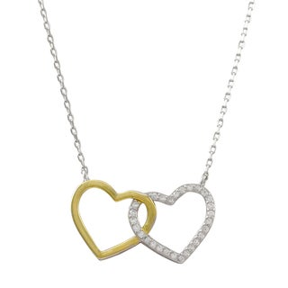 Two-tone Sterling Silver Cubic Zirconia Double Heart Pendant Necklace
