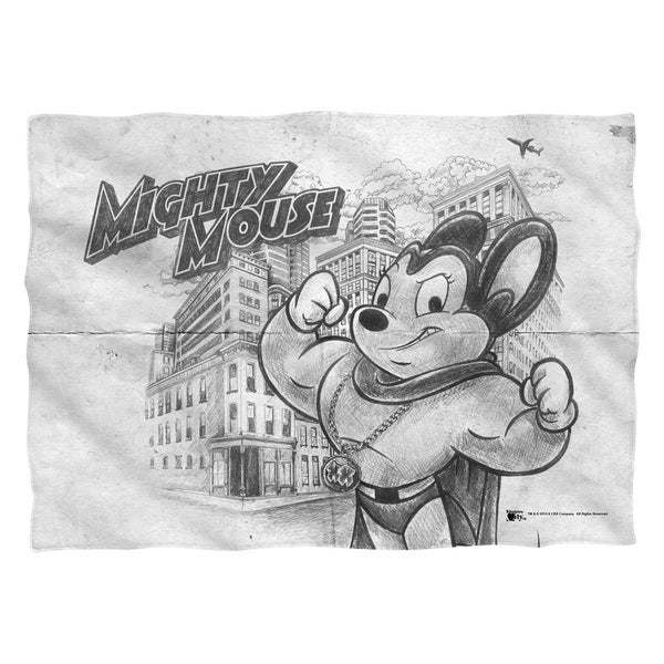 Mighty Mouse/Sketch (Front/Back Print) Pillowcase Pillowcase