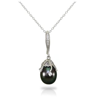 DaVonna Sterling Silver Cable Chains and Pendant with CZ and 10-11mm Tahitian Pearl