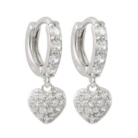 Gold Finish Sterling Silver Cubic Zirconia Heart Children's Clasp Earrings