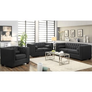 Mid-Century Grey Living Room Collection with Button Tufted Design