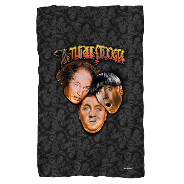 Three Stooges/Stooges All Over White Polyester Blanket