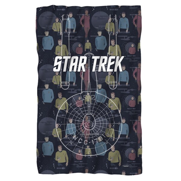 Star Trek/Enterprise Crew White Polyester Blanket