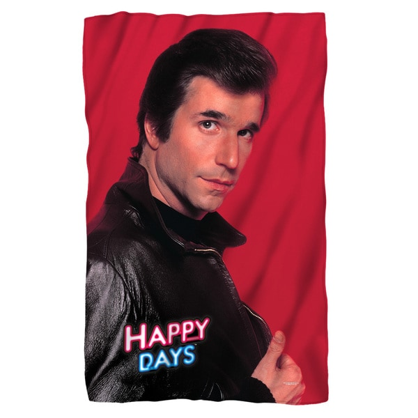 Happy Days/Red Fonz White Polyester Blanket