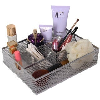 YBM Home Silver Colored 6-Compartment Mesh Vanity Cosmetic Tray