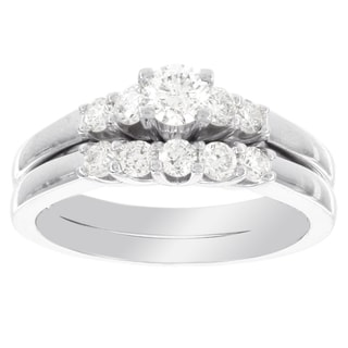 H Star 14k White Gold 3/4ct TDW Diamond Bridal Set (I-J, I2-I3)