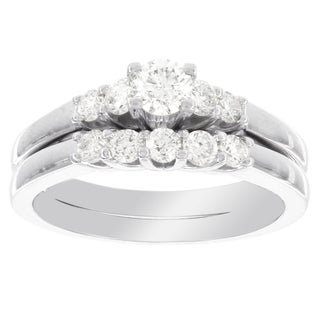 H Star 14k White Gold 3/4ct TDW Diamond Bridal Set (I-J, I2-I3)