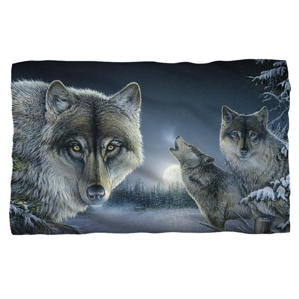 Wild Wings/Midnight Wolves 2 Fleece Blanket in White