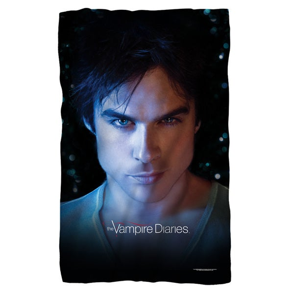 Vampire Diaries/Damon Eyes Fleece Blanket in White