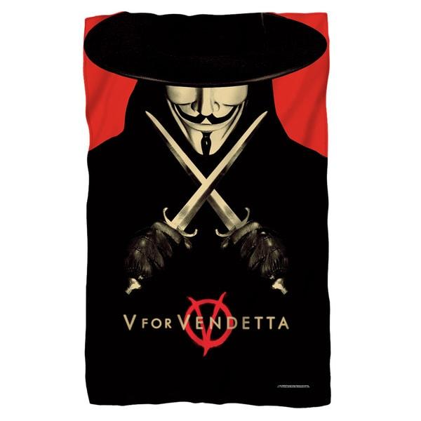 V For Vendetta/V Fleece Blanket in White